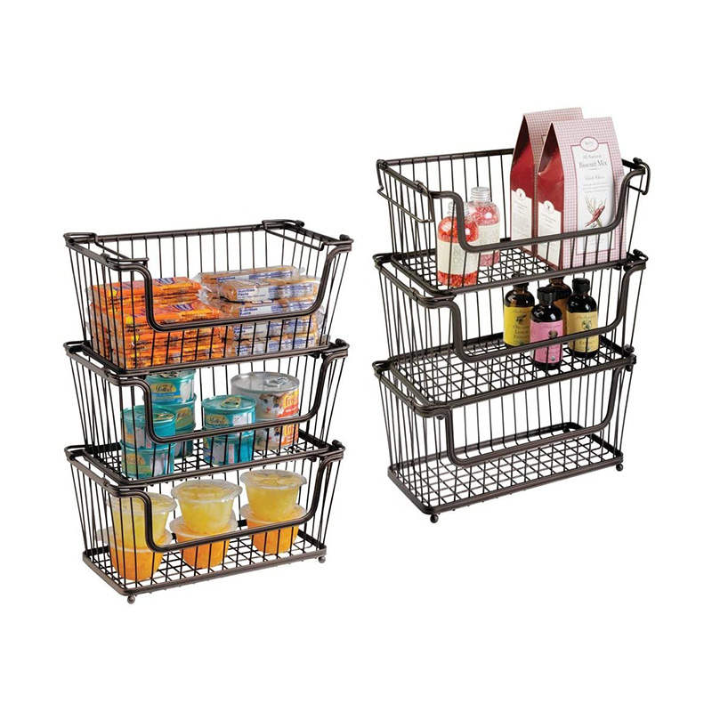 Metal Wire Household Stackable Storage Organizer Bin Basket with Handles, for Kitchen Cabinets, Pantry, Closets, Bathrooms  set of 2 ,Small