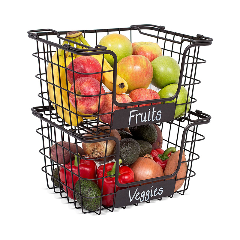 stackable metal storage organizer bin basket with handle, open front for fruit / vegetable storage kitchen cabinet organizer , set of 2